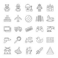 set di icone lineare di giocattoli per bambini vettore