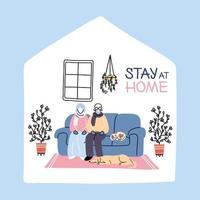 vecchia coppia resta a casa a causa di una pandemia di coronavirus vettore