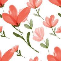 motivo floreale rosso acquerello vettore