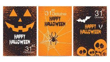 set di poster festa felice halloween grunge