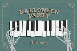 poster di festa di Halloween con mani scheletro suonare il pianoforte vettore