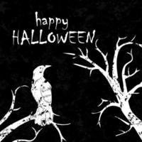 corvo scuro appollaiato sui rami halloween grunge design vettore