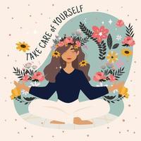 donna meditando circondata da fiori vettore