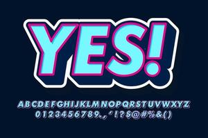 stile alfabeto 3d blu e rosa vettore