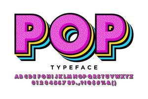 stile alfabeto pop a strati di colore brillante vettore