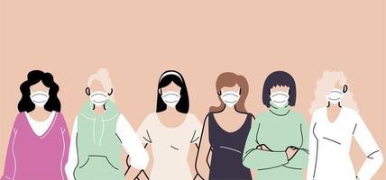 persone in maschere protettive mediche vettore