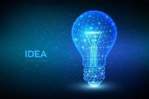 concetto di idea con banner futuristico lampadina vettore