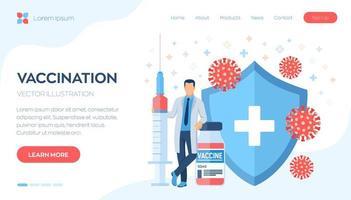 vaccino, banner della home page della campagna di immunizzazione vettore