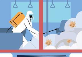 servizio metro disinfezione da coronavirus o covid 19 vettore