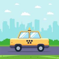 taxi giallo guida su strada con la città sullo sfondo vettore