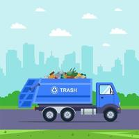 camion blu porta la spazzatura fuori città vettore