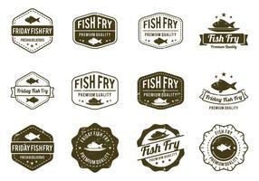 Distintivo di pesce fritto vettore