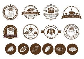 Fagioli di cacao e vettori di etichette per caffè