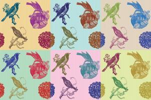 Modelli di uccelli e fiori vettore