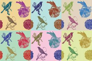 Modelli di uccelli e fiori