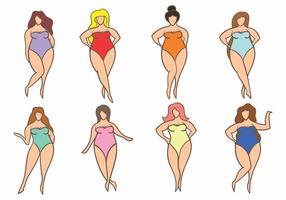 Set di icone di dimensioni donna più semplice vettore