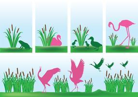 Cattails con i vettori rosa del fondo degli uccelli