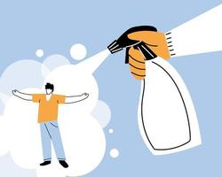 mano con flacone spray, pulizia e disinfezione del coronavirus