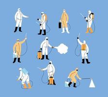 le squadre di lavoro indossano tuta protettiva, disinfezione da coronavirus