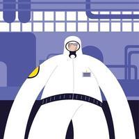 uomo in tuta protettiva, industria chimica