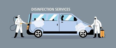 disinfezione di furgoni di servizio da coronavirus o covid 19 vettore