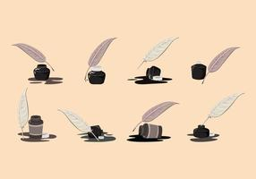Inkwell e Pen Feather Vector