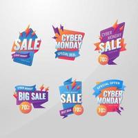 set di etichette moderne cyber lunedì