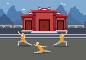 Illustrazione di esercizio di Wushu gratis vettore
