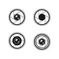set di icone dell'obiettivo della fotocamera vettore