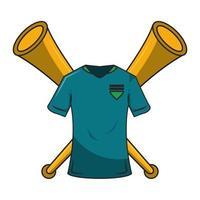 camicia di cartone animato di calcio e composizione di corna