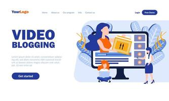 modello di pagina di destinazione per il video blogging vettore