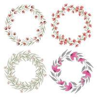 corona floreale dell'acquerello con set di fiori rossi vettore