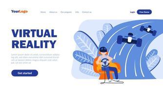 modello di pagina di destinazione della realtà virtuale vettore