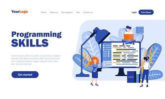 modello di pagina di destinazione delle competenze di programmazione vettore