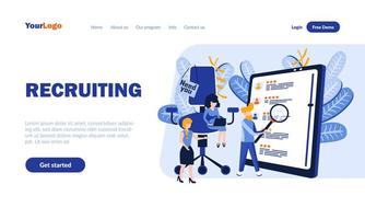 modello di pagina di destinazione piatta per il lavoro di agenzia di reclutamento vettore