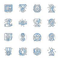 set di icone line-art di successo vettore
