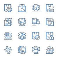 set di icone line-art ordine e consegna vettore