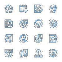 set di icone line-art gestione ufficio vettore