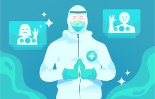 salute e ufficiale medico grazie concetto vettore