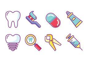 Set di icone del dentista gratuito vettore