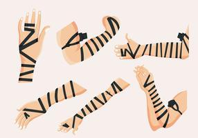 Vettore di mani di cuoio nero Tefillin