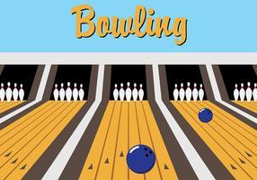 Vettore blu del vicolo di bowling retro