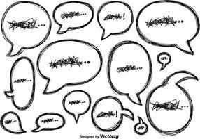 vettore doodle discorso bolle icone