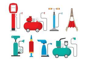 Icone di pompa ad aria brillante vettore