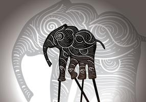Illustrazione di vettore del burattino dell'ombra dell'elefante libero