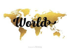 Mappa del mondo oro vettoriale