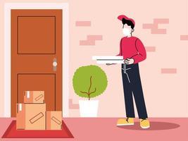 corriere maschio in una maschera consegna le merci alla porta