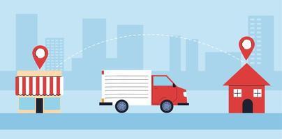 il camion di consegna trasporta la consegna alle persone in quarantena
