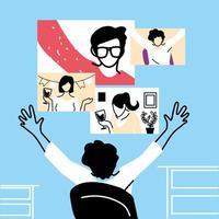 uomo e schermi nel disegno vettoriale di chat video