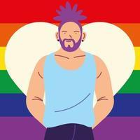 uomo con bandiera del gay pride sullo sfondo, lgbtq